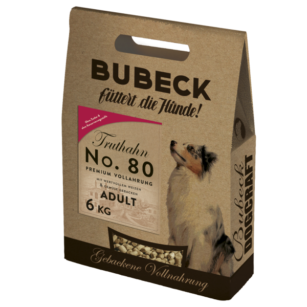 Trockenfutter Single Meat Truthahn Hunde Bubeck No 80